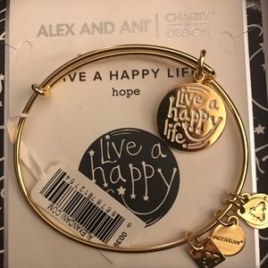 "NEW Alex and Ani ""Live a Happy Life"" gold bracelet"